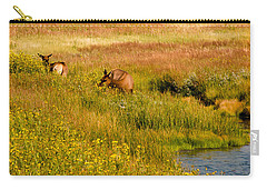 Elk In The Wild Flowers Carry-all Pouch