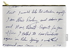 Elvis Presley Letter To President Richard Nixon Carry-all Pouch