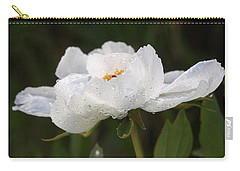 Embracing The Rain - White Tree Peony Carry-all Pouch by Gill Billington