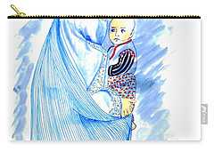 Embroidered Blue Lady-cage -- Woman In Burka Carry-all Pouch