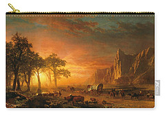 Carry-all Pouch featuring the photograph Emigrants Crossing The Plains - 1867 by Albert Bierstadt