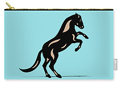 Emma II - Pop Art Horse - Black, Hazelnut, Island Paradise Blue Carry-all Pouch