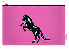 Emma - Pop Art Horse - Black, Island Paradise Blue, Pink Carry-all Pouch