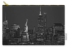 Carry-all Pouch featuring the photograph Empire State And Statue Of Liberty II Bw by Susan Candelario