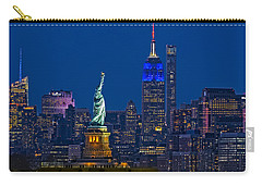 Carry-all Pouch featuring the photograph Empire State And Statue Of Liberty II by Susan Candelario