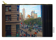 Carry-all Pouch featuring the photograph Empire State Building - Crackled View 2 by Madeline Ellis