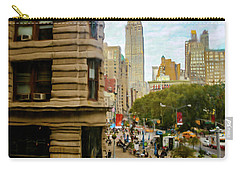 Carry-all Pouch featuring the photograph Empire State Building - Crackled View by Madeline Ellis