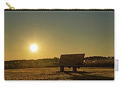 Carry-all Pouch featuring the photograph Empty Cavendish Beach Bench by Chris Bordeleau