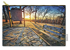 Carry-all Pouch featuring the photograph Empty Park Bench - Sunset At Lapham Peak by Jennifer Rondinelli Reilly - Fine Art Photography