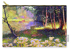 Enchanted By Daisies, Modern Impressionism, Wildflowers, Silver Birch, Aspen Carry-all Pouch by Jane Small