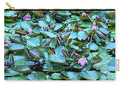 Painted Water Lilies Carry-all Pouch by Theresa Tahara
