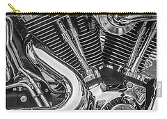 Carry-all Pouch featuring the photograph Engine Chrome In Black And White by Samuel M Purvis III