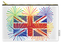 England Jack Union Flag Fireworks Illustrationing Evening Blu Carry-all Pouch