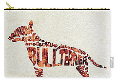 Carry-all Pouch featuring the painting English Bull Terrier Watercolor Painting / Typographic Art by Ayse and Deniz