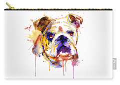 Carry-all Pouch featuring the mixed media English Bulldog Head by Marian Voicu