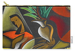 Carry-all Pouch featuring the painting Enjoying Food And Drink by Leon Zernitsky
