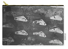 Carry-all Pouch featuring the painting Eoliths Grayscale by Robin Maria Pedrero