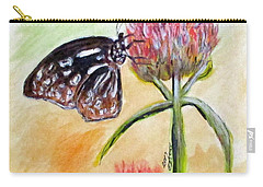 Erika's Butterfly Two Carry-all Pouch by Clyde J Kell