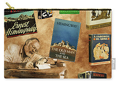 Ernest Hemingway Books 2 Carry-all Pouch by Andrew Fare