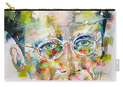 Carry-all Pouch featuring the painting Erwin Schrodinger - Watercolor Portrait by Fabrizio Cassetta