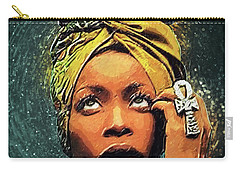 Carry-all Pouch featuring the digital art Erykah Badu by Taylan Apukovska