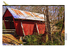 Carry-all Pouch featuring the photograph Est. 1909 Campbell's Covered Bridge by Lisa Wooten