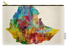 Carry-all Pouch featuring the digital art Ethiopia Watercolor Map by Michael Tompsett