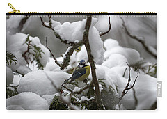 Eurasian Blue Tit In Winter 22 Carry-all Pouch
