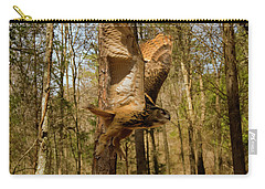 Carry-all Pouch featuring the photograph Eurasian Eagle Owl In Flight by Chris Flees