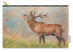 Carry-all Pouch featuring the painting European Red Deer by David Stribbling