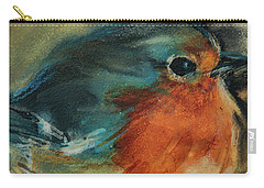 Carry-all Pouch featuring the painting European Robin 2 by Jani Freimann