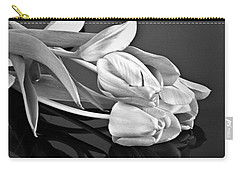 Even Tulips Are Beautiful In Black And White Carry-all Pouch by Sherry Hallemeier