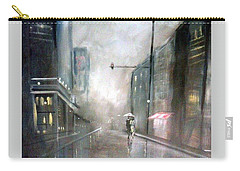 Evening Walk In The Rain Carry-all Pouch by Raymond Doward
