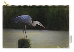 Ever Vigilant - The Great Blue Heron Carry-all Pouch by Scott Cameron
