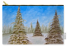 Evergreens In Snowy Field Enhanced Colors Carry-all Pouch