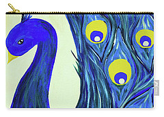 Carry-all Pouch featuring the painting Expressive Brilliant Peacock B71117 by Mas Art Studio