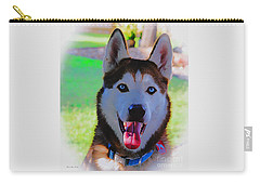 Carry-all Pouch featuring the digital art Expressive Siberian Husky  A62117d by Mas Art Studio