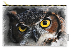 Carry-all Pouch featuring the digital art Expressive Owl Digital A2122216 by Mas Art Studio