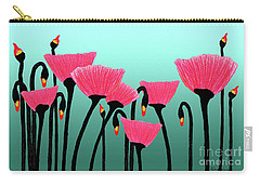 Expressive Red Pink Green Poppy Painting Y1a Carry-all Pouch