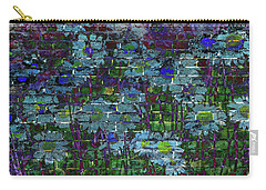 Extraordinary Blue Daisies Graffiti On A Brick Wall Carry-all Pouch
