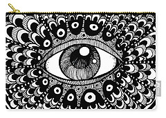 Carry-all Pouch featuring the drawing Eye Of March by Nada Meeks