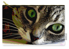 Carry-all Pouch featuring the mixed media Eyes Of The Cat by Charles Shoup