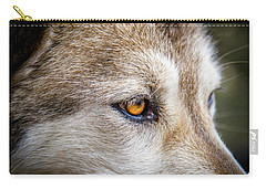 Carry-all Pouch featuring the photograph Eyes Of The Gray Wolf by Teri Virbickis