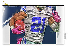 Ezekiel Elliotte Dallas Cowboys Oil Art Carry-all Pouch by Joe Hamilton