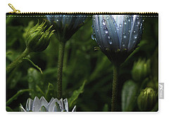 Fabulously Beautiful Blue Flowers With Raindrops Carry-all Pouch