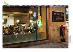 Carry-all Pouch featuring the digital art Faces At The Coffeehouse by Chris Flees