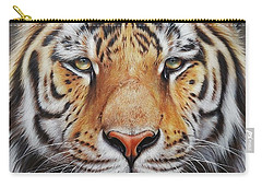 Carry-all Pouch featuring the drawing Faces Of The Wild - Amur Tiger by Elena Kolotusha