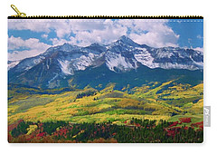 Facinating American Landscape Flowers Greens Snow Mountain Clouded Blue Sky  Carry-all Pouch by Navin Joshi