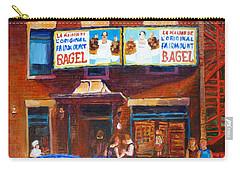 Fairmount Bagel With Blue Car  Carry-all Pouch by Carole Spandau