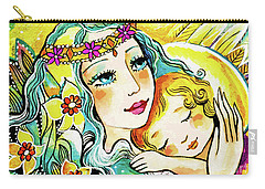 Carry-all Pouch featuring the painting Fairy Mother And Angel Child by Eva Campbell